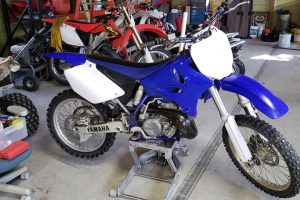 Blue-White Dirt Bike